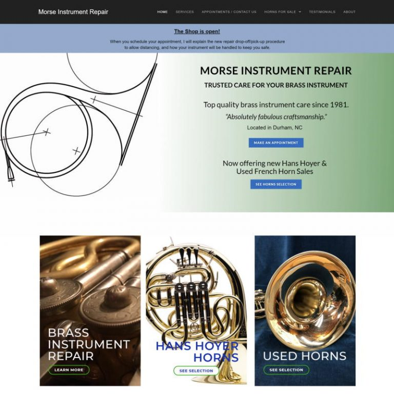 home page for morse instrument repair