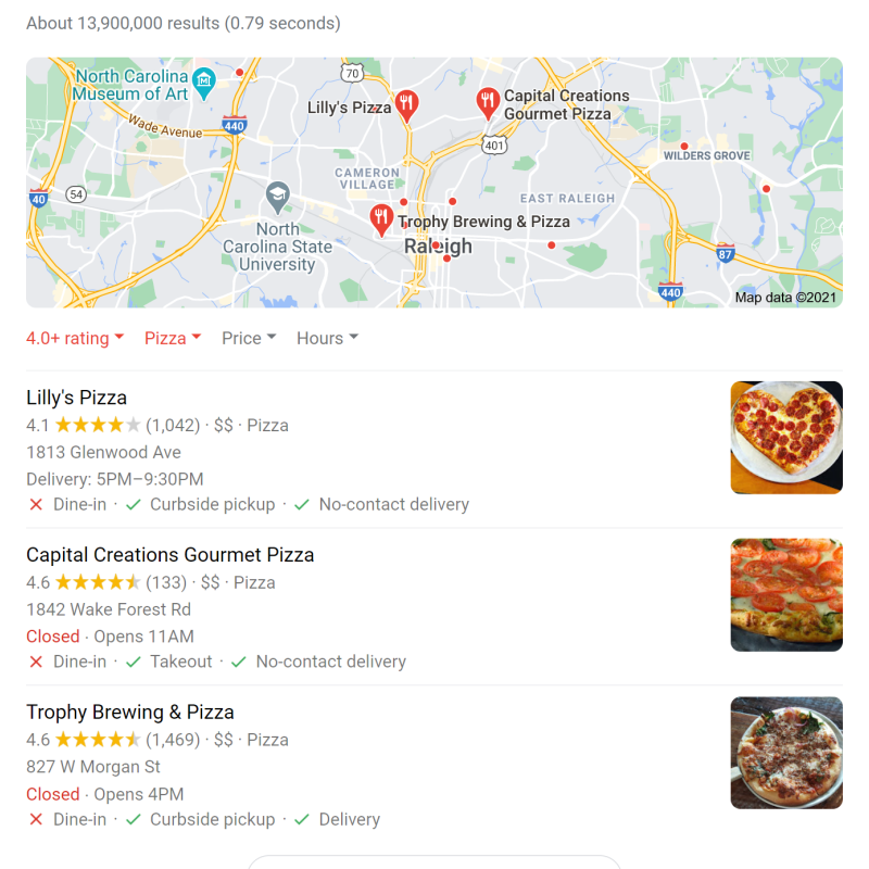 screenshot of google search pizza raleigh